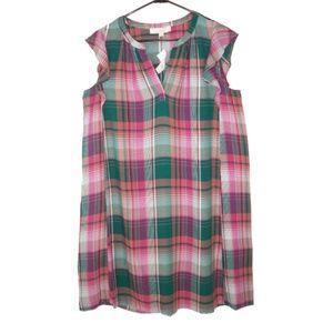 NWT Ann Taylor LOFT Plaid Lightweight Flowy Dress